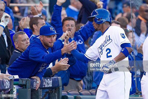 Kansas City Royals shortstop Alcides Escobar celebrates after scoring during the MLB Playoff ALDS game 2 between the Houston Astros and the Kansas...