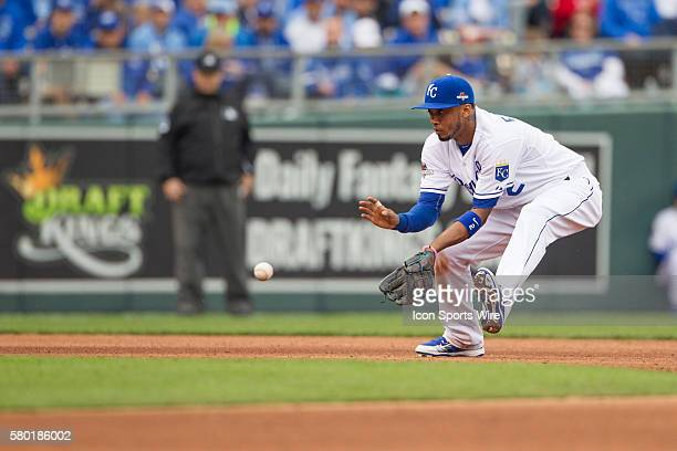 Kansas City Royals shortstop Alcides Escobar during the MLB Playoff ALDS game 2 between the Houston Astros and the Kansas City Royals at Kauffman...