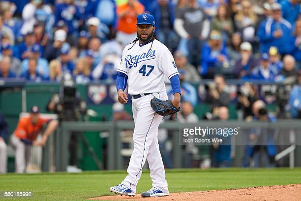 Kansas City Royals starting pitcher Johnny Cueto during the MLB Playoff ALDS game 2 between the Houston Astros and the Kansas City Royals at Kauffman...