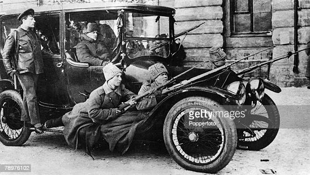 October A Bolshevist Military Patrol car operating in the Nevski Prospekt Petrograd during the battle between the Bolshevists army of revolutionary...