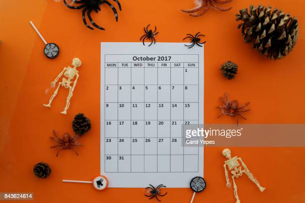 october calendar  for halloween holiday