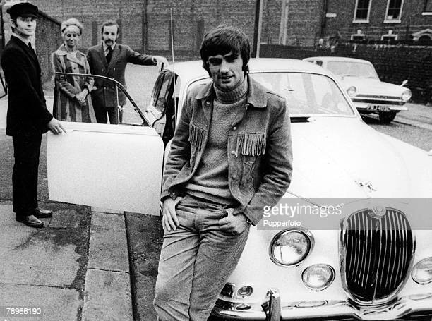 October Footballer George Best and his personal staff Driver Bill White Personal Secretary Pearl Goodman and Buisiness Manager Malcolm Mooney stand...