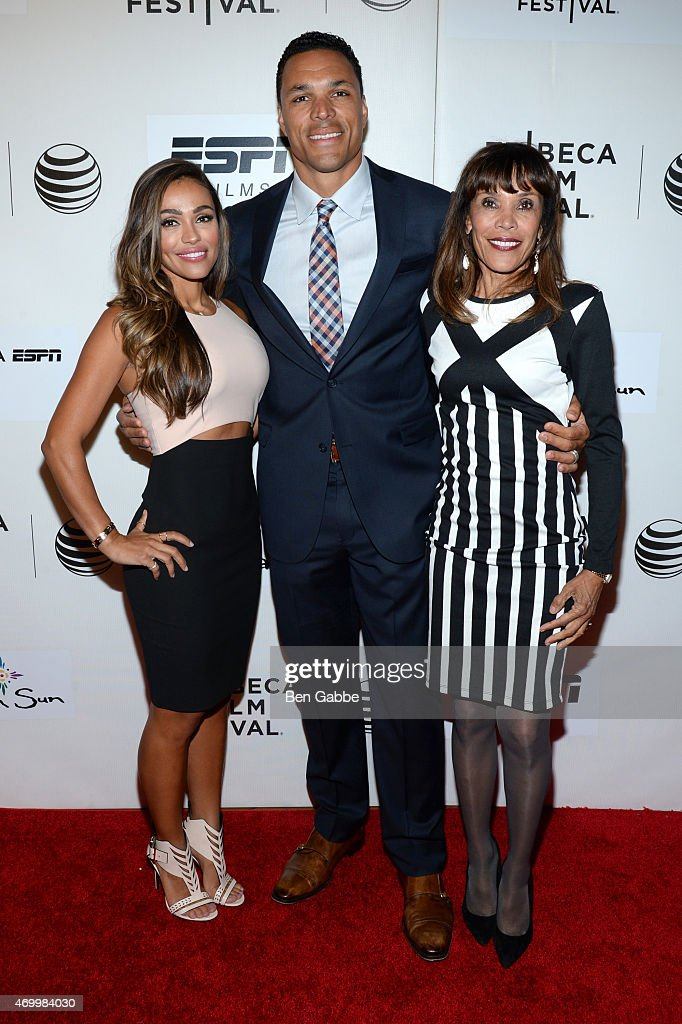 October Gonzalez, Tony Gonzalez, and Judy Gonzalez attend the Tribeca/ESPN Sports Film Festival Gala for the premiere of 'Play It Forward' during the 2015 Tribeca Film Festival at BMCC Tribeca PAC on April 16, 2015 in New York City.