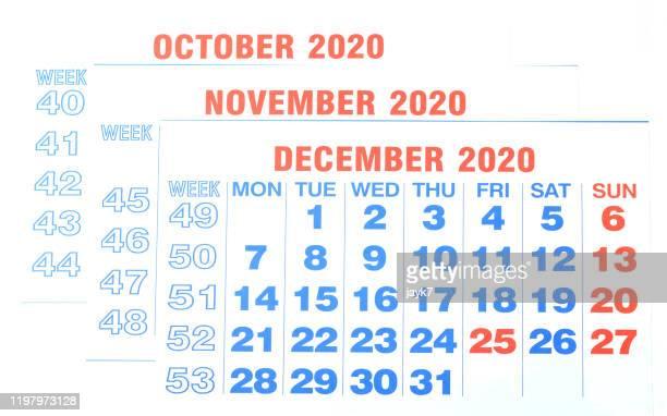 october november december month calendar - december stock pictures, royalty-free photos & images