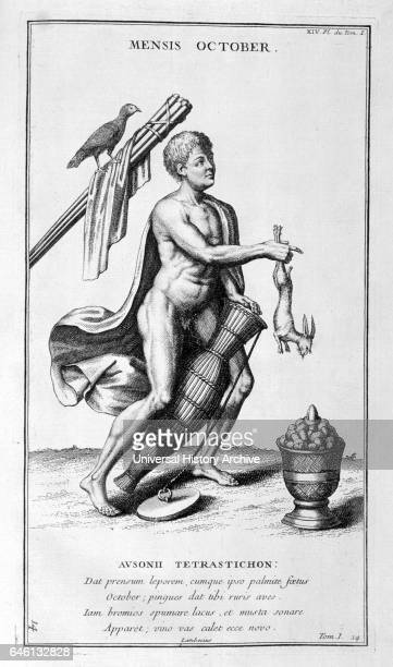 October represented as a man pulling a hare from a basket Illustration from supplement to 'L'antiquite expliquee et representee en figures' by Dom...