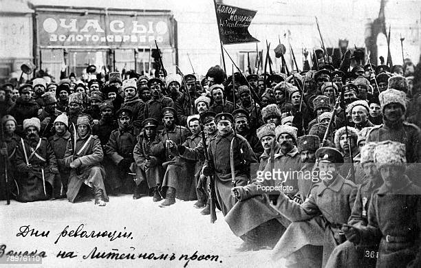 October Russian bolshevist soldiers protest in the streets of Petrograd during the Russian revolution