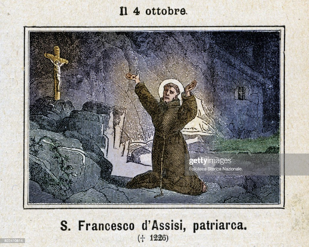 October the 4th, Saint Francis of Assisi. Saint Francis of Assisi, born Giovanni di Pietro di Bernardone, informally named as Francesco (approx. 1182, - October 3, 1226), was an Italian Roman Catholic friar and preacher, founder of the Franciscan order. Colored engraving from Diodore Rahoult, Italy 1886. (Photo by Fototeca Gilardi/Getty Images).
