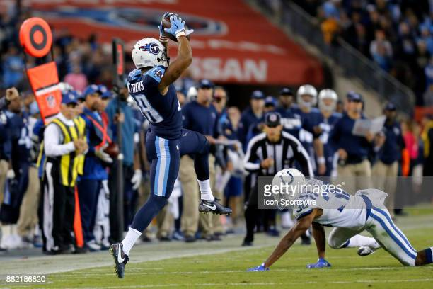 Tennessee Titans wide receiver Rishard Matthews hauls in the pass for a first down during an NFL football game between the Indianapolis Colts and the...