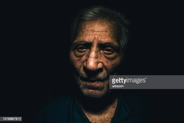 octogenarian low key portrait - high contrast stock pictures, royalty-free photos & images