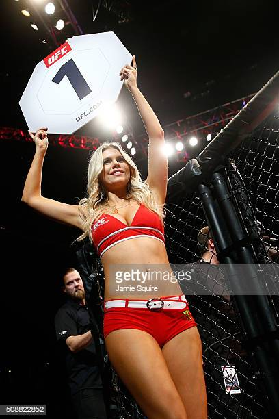Octogon Girl Chrissy Blair introduces a round during the UFC Fight Night event at MGM Grand Garden Arena on February 6 2016 in Las Vegas Nevada