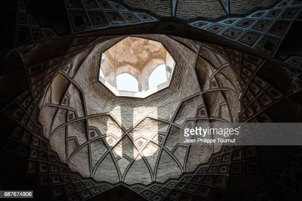 Octogonal design of the ceiling of Qom's Bazaar in Iran
