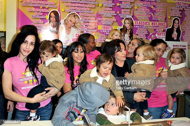 Octomum Nadya Suleman and her large family plus helpers launch their signature Milkshake at 'Millions of Milkshakes' on November 10 2010 in West...