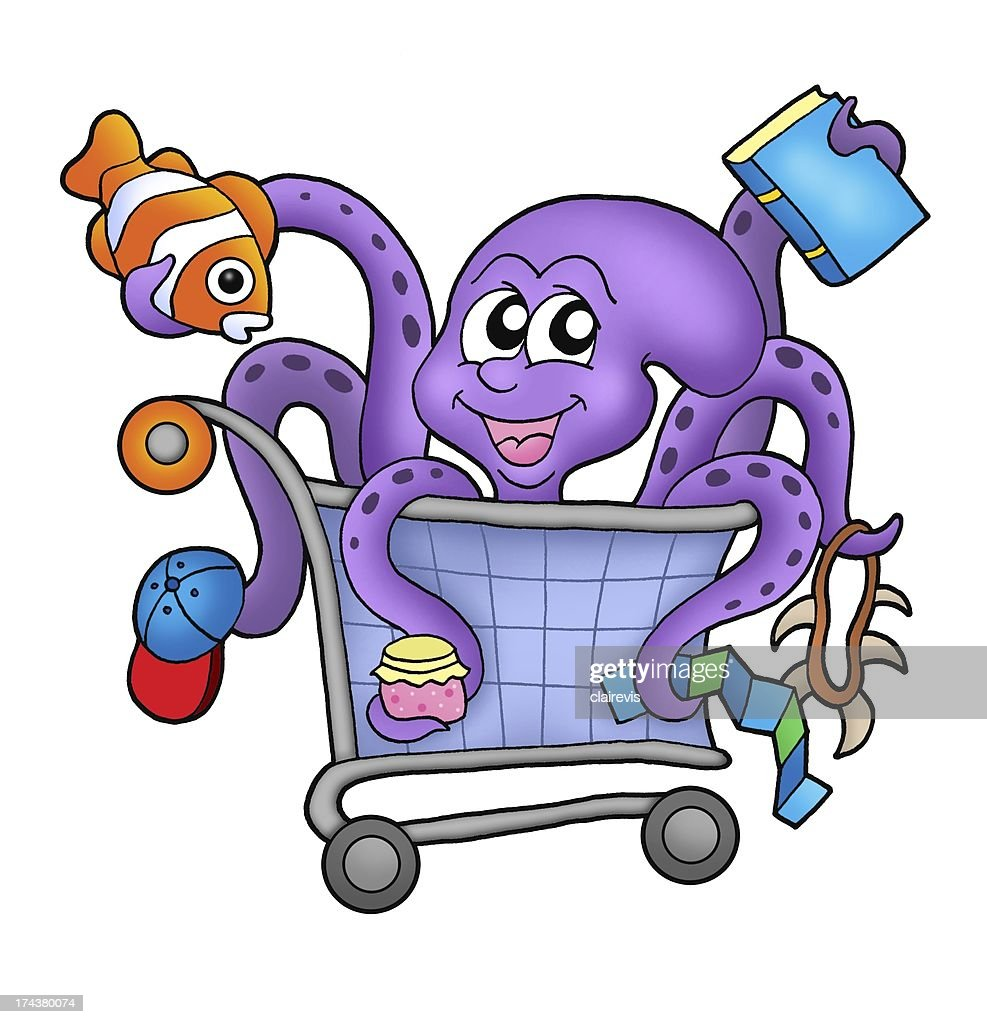Octopus and shopping cart : Stock Photo