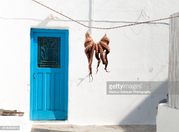 octopus hanging outside a restaurant - naxos stockfoto's en -beelden