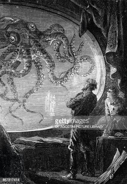 Octopus illustration from Twenty Thousand Leagues Under the Sea by Jules Verne France 19th century