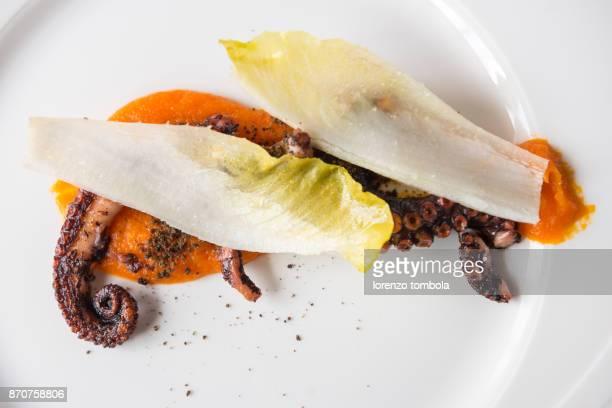 Octopus on Pumpkin Mousse
