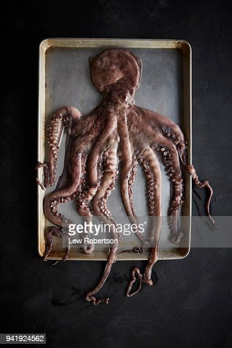 Octopus on sheet pan
