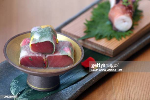 Octopus tuna wrapped in daikon with flower petals from Sushi Gin at Causeway Bay 28JUN16 [2016 FEATURES] SCMP/ K Y Cheng