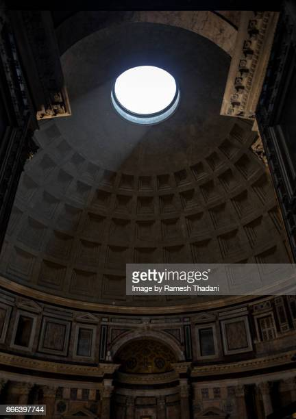 oculus - the eye of the dome of the pantheon - pantheon rome stock photos and pictures