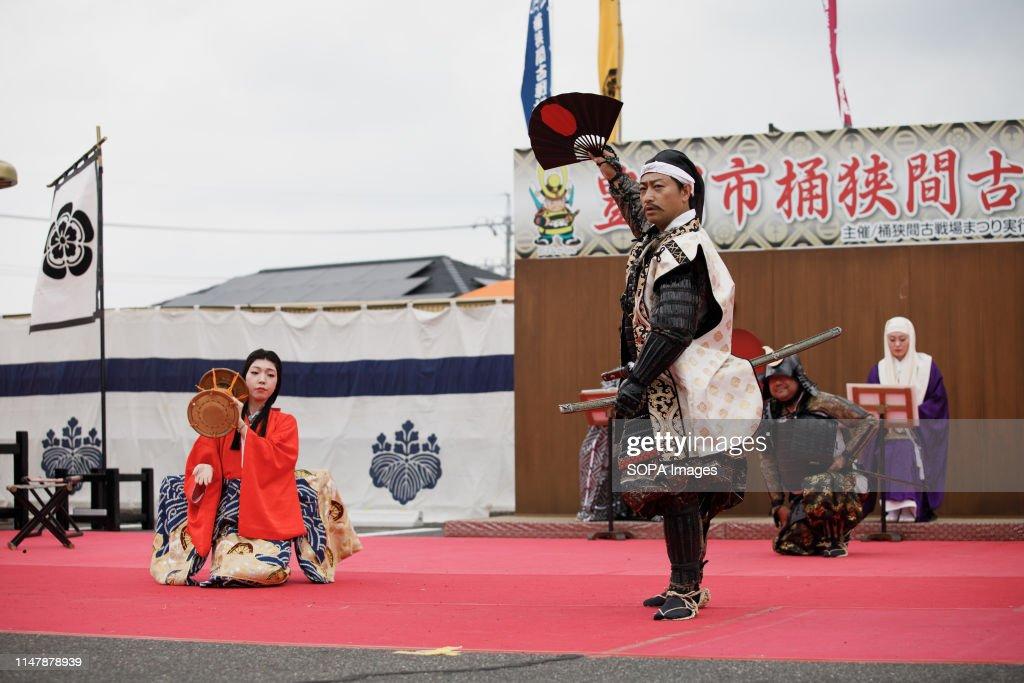 Oda Nobunaga performs during the Okehazama Historical... : News Photo