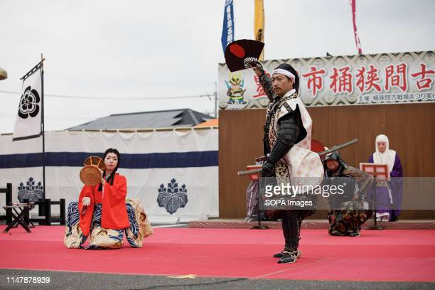 Oda Nobunaga performs during the Okehazama Historical Battlefield Festival in Aichi Toyoake In 1560 Oda Nobunaga and Imagawa Yoshimoto fought the...