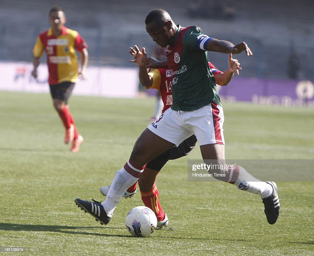 Odafa of Mohun Bagan is in action during their derby match of I-League against East Bengal at Yuba Bharati Krirangan, Salt Lake on February 9, 2013 in Kolkata, India.