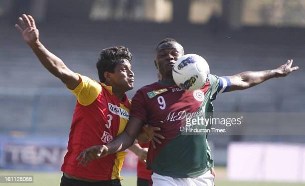 Odafa of Mohun Bagan is trying to beat Arnab Mondal of East Bengal during the derby match of ILeague at Yuba Bharati Krirangan Salt Lake on February...