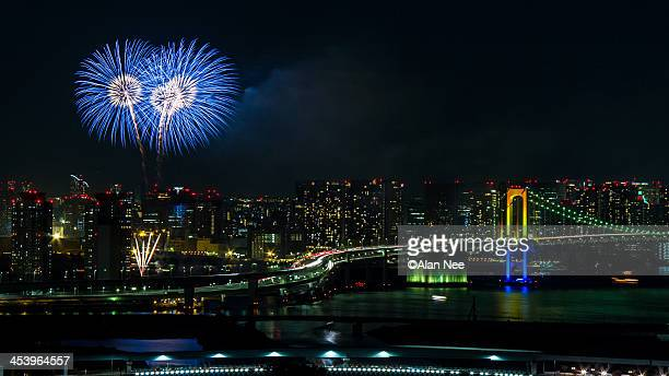 odaiba fireworks - nee nee stock pictures, royalty-free photos & images