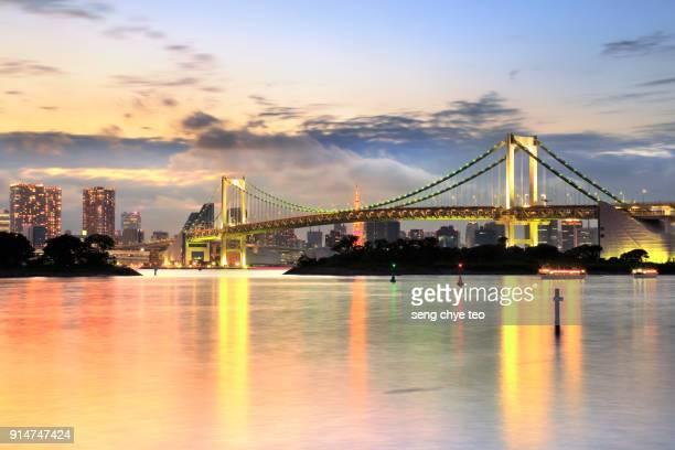 Odaiba rainbow Bridge ,Japan, Tokyo. Tokyo Bay