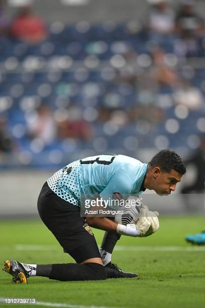 Odalis Báez of Atlético Pantoja controls the ball during a second leg match between Monterrey and Atletico Pantoja as part of Round of Sixteen of...