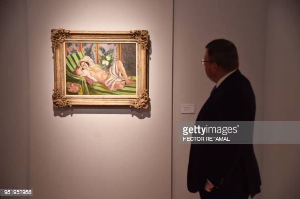 Odalisque couchee aux magnolias by Henri Matisse is seen during a Christie's preview presenting the collection of Peggy and David Rockefeller in New...