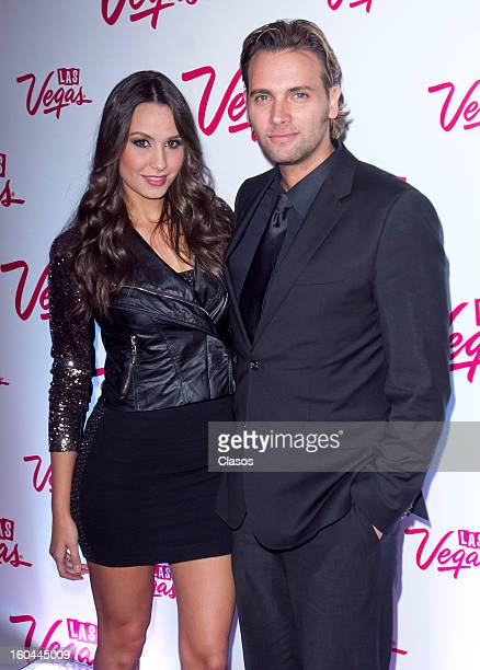 Odalys Garcia and Patrick Borguetti pose during the red carpet to present Las Vegas on January 30 2013 in Mexico City Mexico