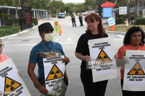 Odalys K Fernandez Laurie Woodward Garcia and Yaquelin Lopez hold signs reading ' Caution coronavirus risk at Miramar Ice cage' as they join with...