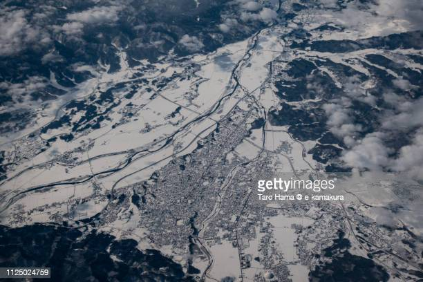 Odate city in Akita prefecture in Japan daytime aerial view from airplane