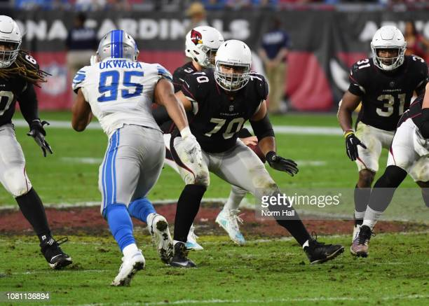 Oday Aboushi of the Arizona Cardinals drops back to block Romeo Okwara of the Detroit Lions at State Farm Stadium on December 09 2018 in Glendale...