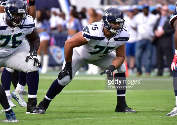 Oday Aboushi of the Seattle Seahawks plays against the Tennessee Titans at Nissan Stadium on September 24 2017 in Nashville Tennessee