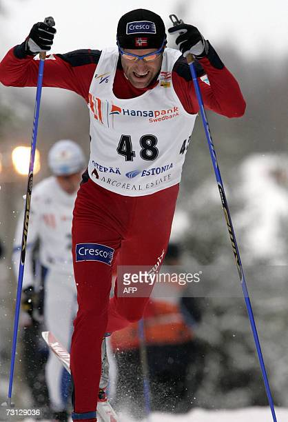 Odd Bjoern Hjelmeset of Norway performs to take the third place of the World Cup 15km classical cross-country race 27 January 2007, in Otepaeae. Axel...