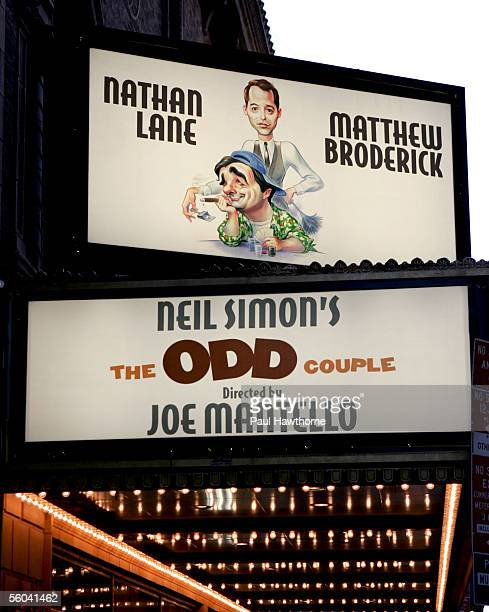Odd Couple Marquee is seen at the Brooks Atkinson Theater October 31 2005 in New York City