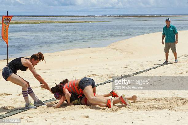 Odd One Out Jeff Probst watches as Morgan McLeod Lindsey Ogle and Sarah Lacina compete during the fourth episode of SURVIVOR CAGAYAN Wednesday March...