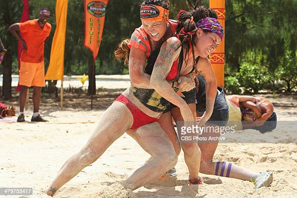 Odd One Out Sarah Lacina wrestles with Lindsey Ogle for reward during the fourth episode of SURVIVOR CAGAYAN Wednesday March 19 on the CBS Television...