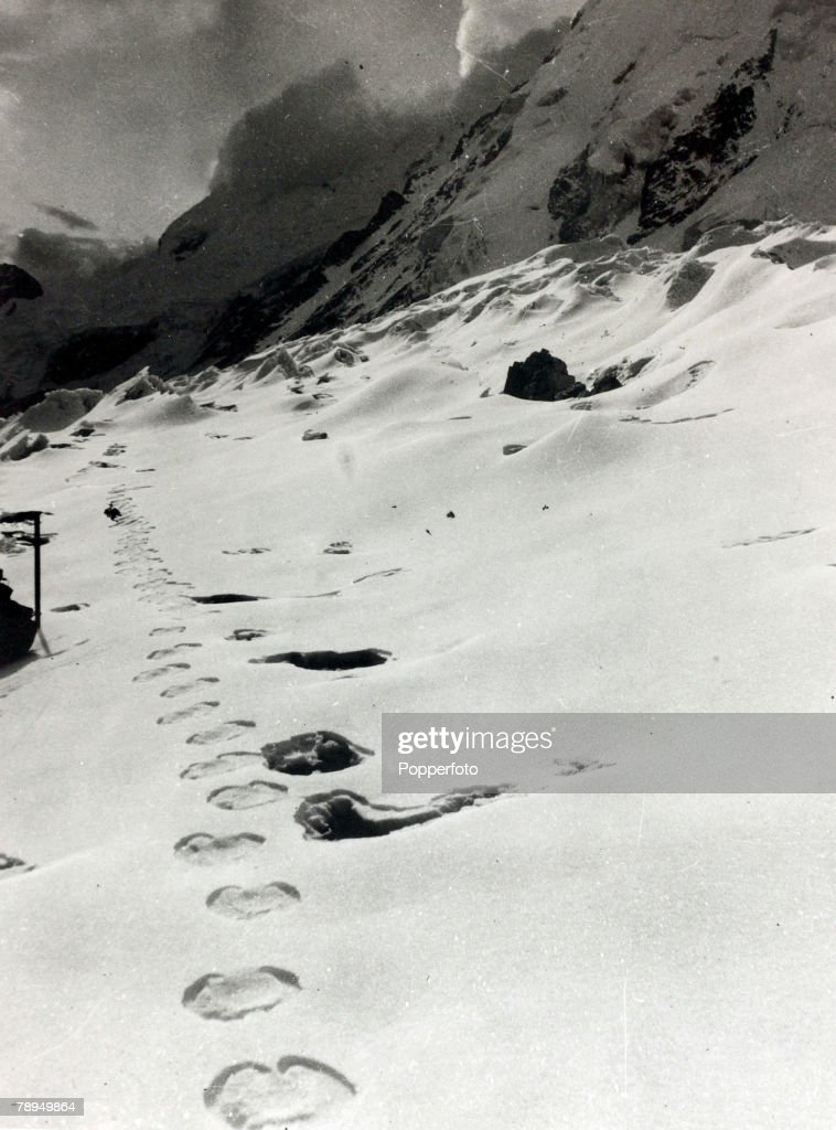 Oddities, Mythical Creatures, Abominable Snowman, pic: circa 1961, This picture was brought back from the expedition to Mount Everest and shows, supposedly, the footprints of the Abominable Snowman or Yeti