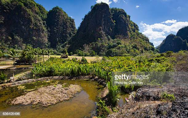 Oddly shaped karst mountains surround the Rammang-Rammang valley.