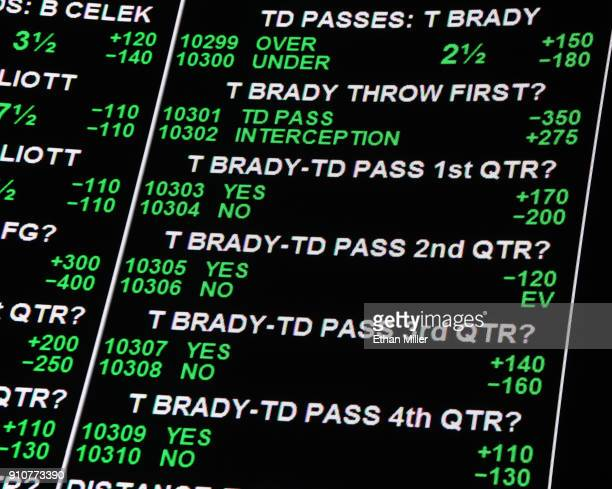 Odds on New England Patriots quarterback Tom Brady's performance for Super Bowl LII between the Philadelphia Eagles and the Patriots are displayed as...