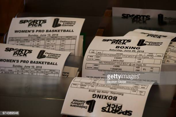 Odds sheets are pictured inside Vegas Sports Betting at Delaware Park Racetrack in Stanton DE on June 10 2018 In May the US Supreme Court overturned...