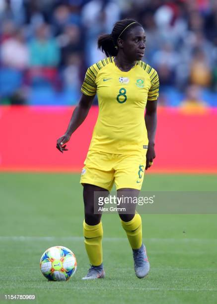 Ode Fulutudilu of South Africa controles the ball during the 2019 FIFA Women's World Cup France group B match between Spain and South Africa at on...