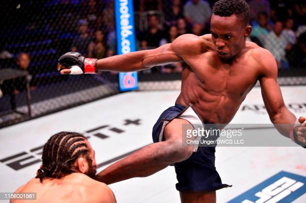 Ode Osbourne of Jamaica kicks Armando Villarreal in their bantamweight bout during Dana White's Contender Series at the UFC Apex on July 16 2019 in...