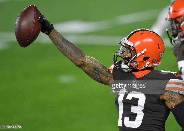 Odell Beckham Jr #13 of the Cleveland Browns celebrates a touchdown against the Cincinnati Bengals during the first half at FirstEnergy Stadium on...
