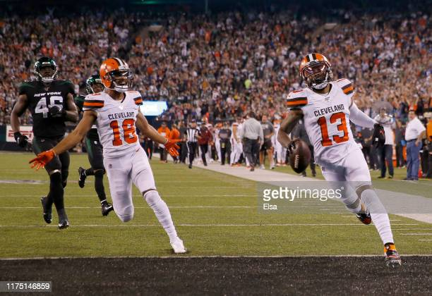 Odell Beckham Jr #13 of the Cleveland Browns celebrates his touchdown with teammate Damion Ratley in the third quarter against the New York Jets...
