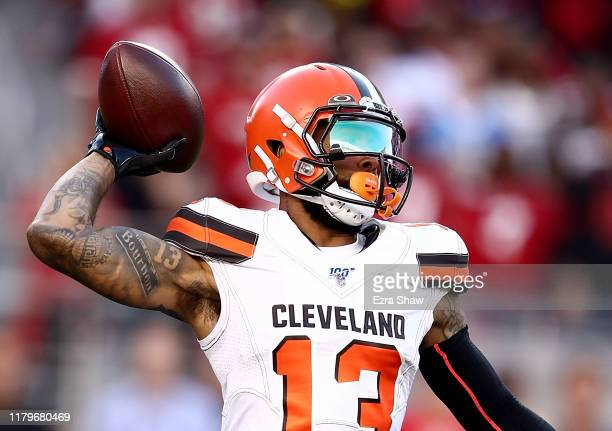 Odell Beckham Jr #13 of the Cleveland Browns delivers a pass against the San Francisco 49ers in the first quarter at Levi's Stadium on October 07...