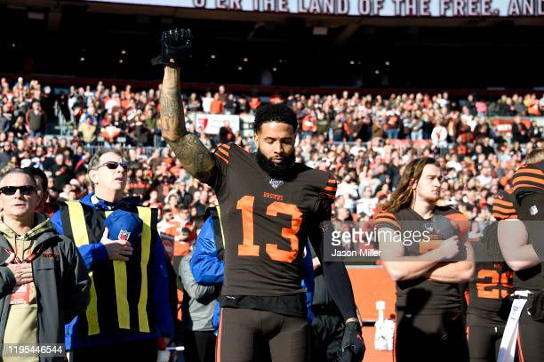 Odell Beckham Jr #13 of the Cleveland Browns reacts on the sideline prior to the game against the Baltimore Ravens at FirstEnergy Stadium on December...